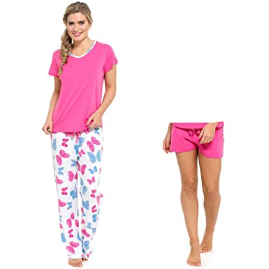 Ladies 2 In 1 Pyjama ShortS Or Long Set 3 Piece With Lounge sock (16 ... 63582d751