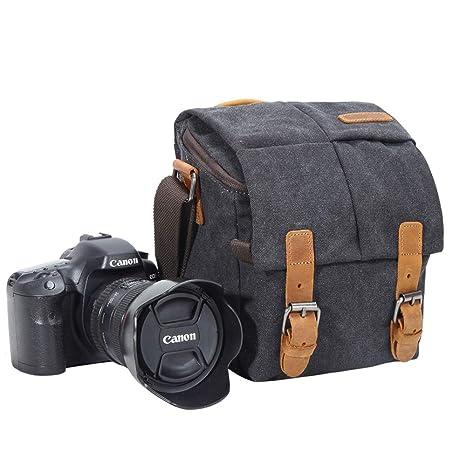 02e1717011 Borsa per macchina fotografica, stile vintage, in tela, impermeabile, con  finiture in