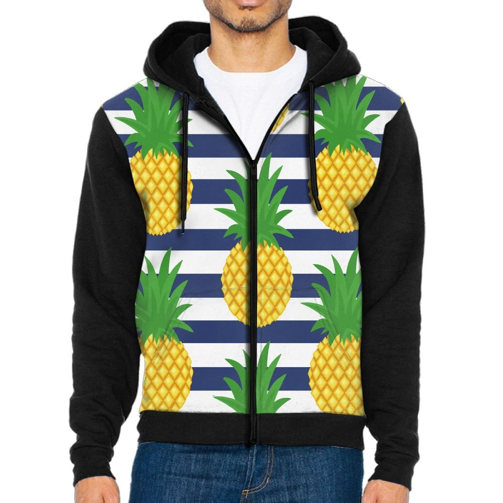 Mars Sight Sweatshirt Mens Cute Pineapple Summer Fruit Full Zip Up Hooded Sweatshirt With Pocket