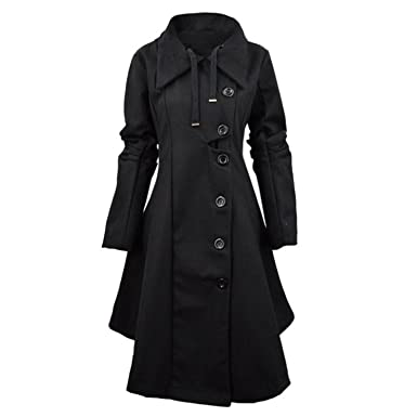 Heom6Ca Fashion Trench Women Winter Windbreaker Outwear Button Closure Asymmetrical Hem Cloak Coat Female Abrigos Oc26