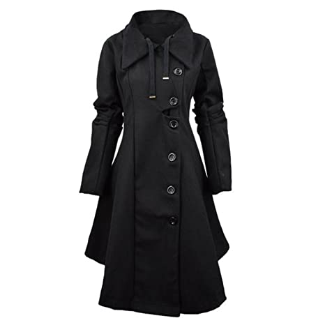 Amazon.com: Heom6Ca Fashion Trench Women Winter Windbreaker Outwear Button Closure Asymmetrical Hem Cloak Coat Female Abrigos Oc26: Clothing