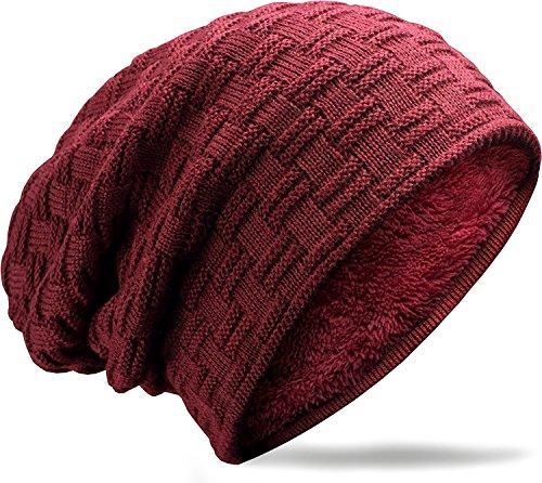 (muco Mens Womens Hat Beanie Cap, Unisex Winter Warm Knitted Hats, Fleece Lining Slouch Skull Beanies Caps for Men Women Deep-red)