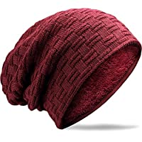 muco Mens Womens Hat Beanie Cap, Unisex Winter Warm Knitted Hats, Fleece Lining Slouch Skull Beanies Caps For Men Women