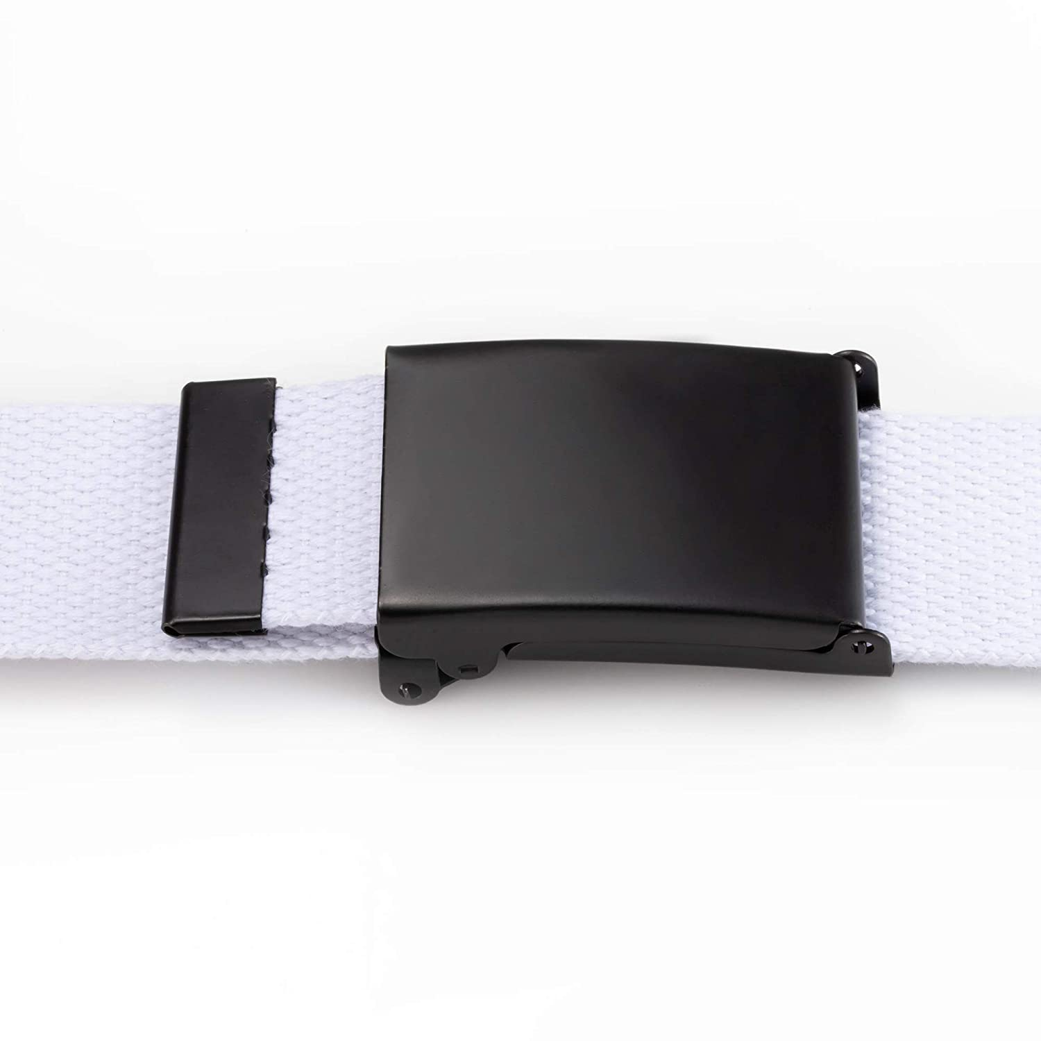 Cut To Fit Canvas Web Belt Size Up to 52 with Flip-Top Solid Black Military Buckle 16 Color and Combo Pack Options