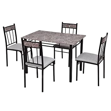 Amazoncom Black Metal 5 Pcs Faux Marble Dining Table Set W 4