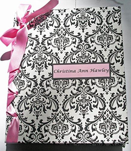 Baby Shower Album - Newborn Baby Photo Album - Children's Book - Pink, Black & White by Michelle Worldesigns