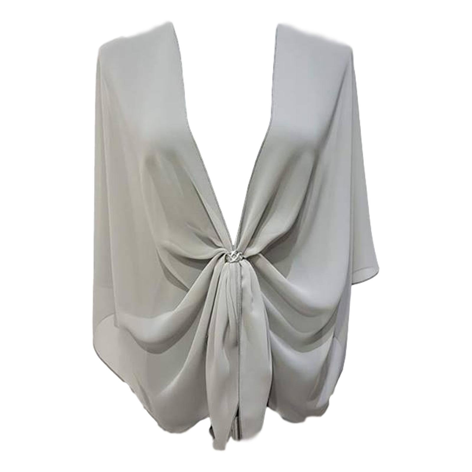 eXcaped Women's Sheer Chiffon Open Front Evening Shawl Wrap with Silver Scarf Ring (Silver Grey)