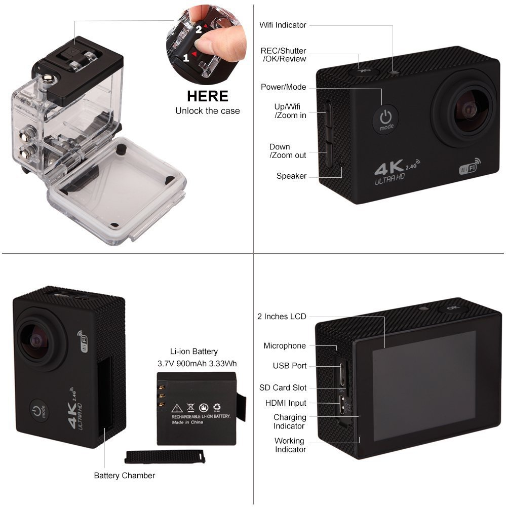 Waterproof Action Camera AD Sports Camera 4K 16MP Wifi Remote Control 170 Ultra Wide Lens SONY Sensor 2017 Newest by Avant Digital (Image #3)