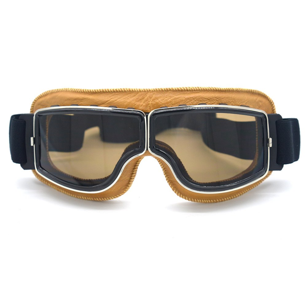 Evomosa Leather Motocross Motorcycle ATV Off-Road Eyewear Snowboard Ski Bikes Helmet Goggles Glasses Sunglasses Sports Vintage Aviator Pilot Style Motorcycle Cruiser Scooter Goggle (Yellow, Smoke)