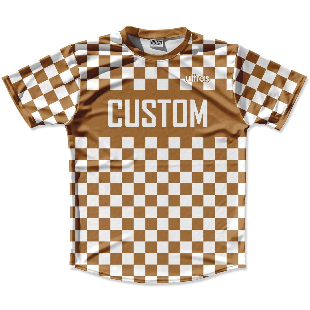 Dark Brown /& White Custom Checkerboard Soccer Jersey