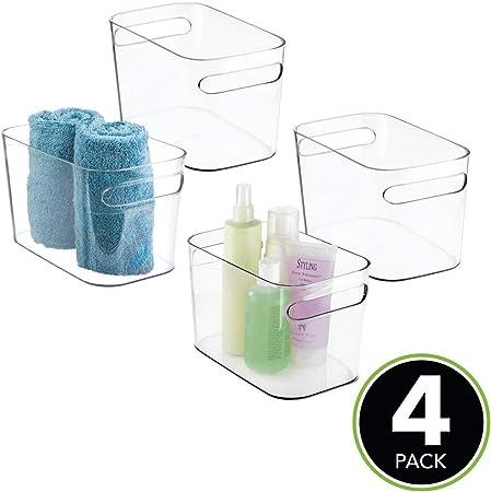 ba/ño o material de oficina Cajas organizadoras para cocina gris Organizador de escritorio en pl/ástico mDesign Juego de 2 cajas de almacenaje con asas integradas