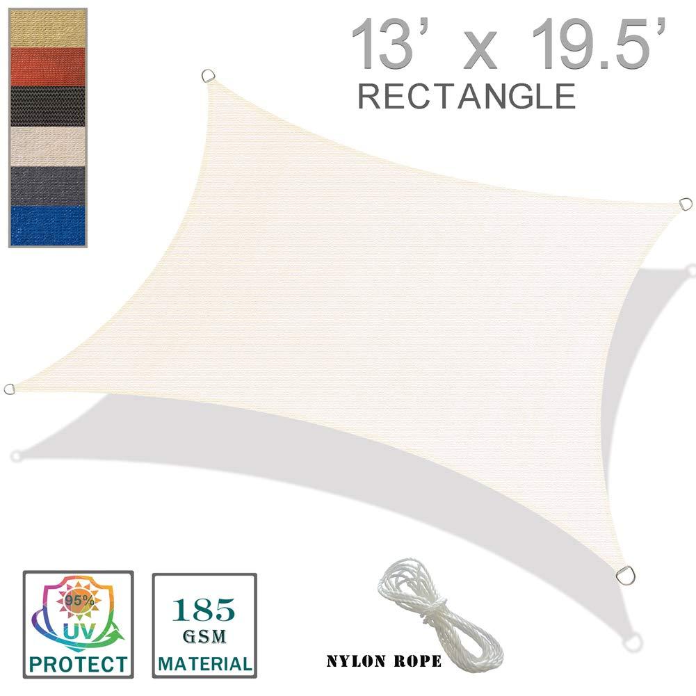 SUNNY GUARD 13' x 19.5' Cream Rectangle Sun Shade