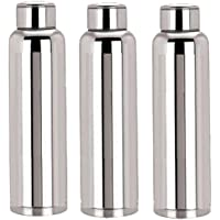 Kuber Industries Code-BT018 Stainless Steel Fridge Water Bottle Set, 1 Litre, Set of 3, Silver
