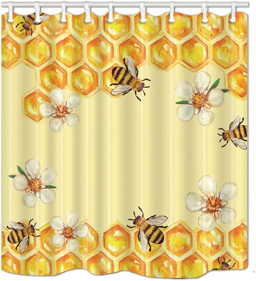NYMB Bee in Flower Take Honey Shower Curtain 69X70 inches Polyester Fabric Bathroom Fantastic Decorations Funny Animals Bath Curtains Hooks Included (Multi26)