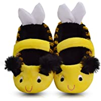 LA PLAGE Girl's Winter Warm Plush Comfy Cute Cartoon Bee Bedroom Slippers (Toddler/Little Kid) (FBA)