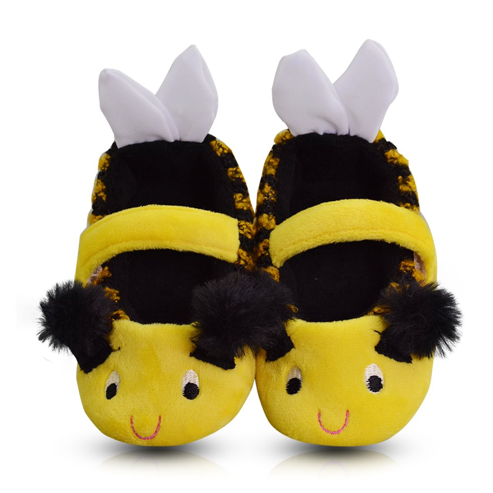 LA PLAGE Girl's Winter Warm Plush Comfy Cute Cartoon Bee Bedroom Slippers (Toddler/Little Kid) DM-186-A