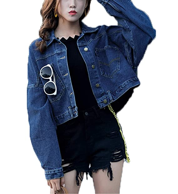 Abrigo De Jeans Mujer Otoño Elegante Moda Chaquetas De Mezclilla Manga Larga De Solapa Joven Un