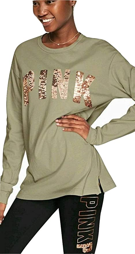 PINK VICTORIA/'S SECRET GRAY SILVER SEQUIN LOGO VARSITY V-NECK LONG SLEEVE TEE VS