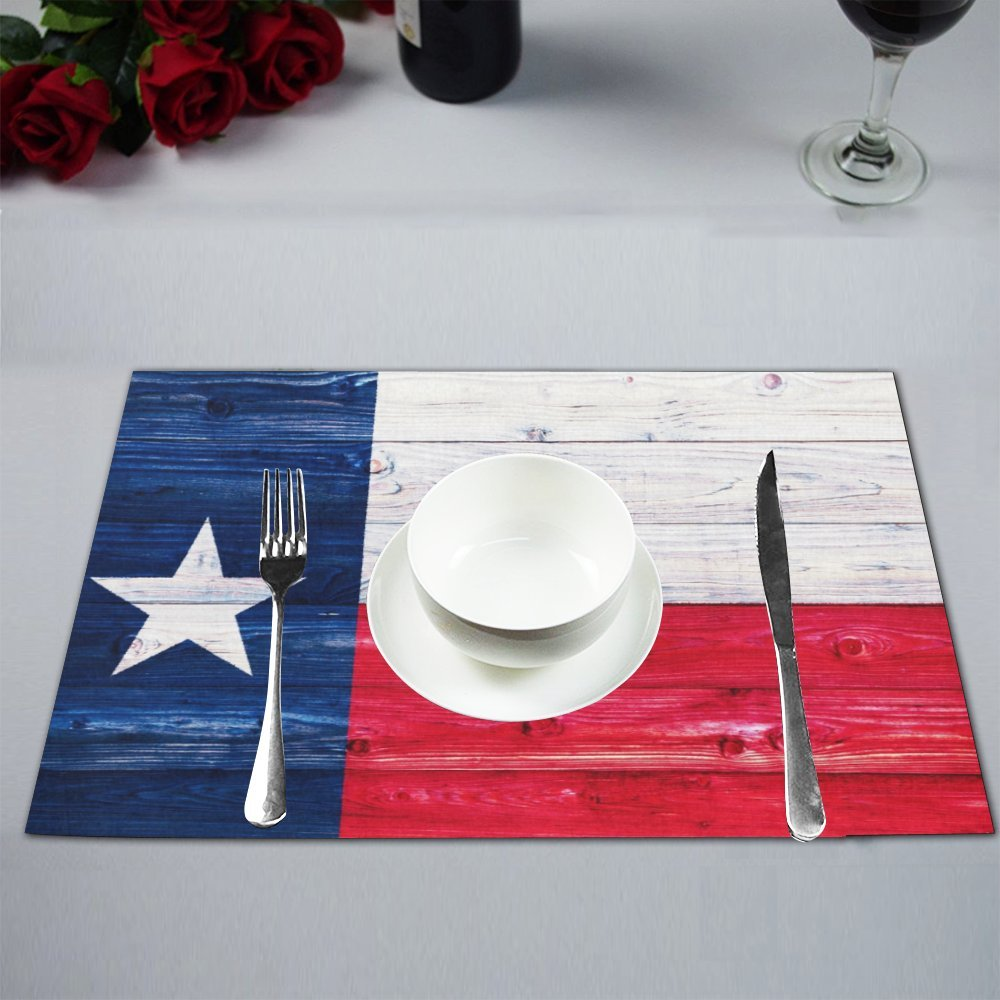 InterestPrint American State Flag Wood Texas Flag Washable Fabric Placemats Set of 6 Heat Insulation Dining Table Mats Non-slip Washable Place Mats, 12 x 18 Inches