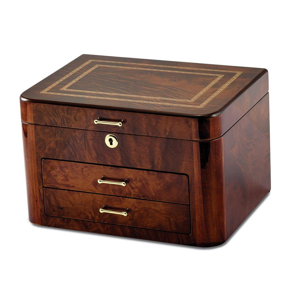 Elm Burl with Double Braided Accents Jewelry Chest