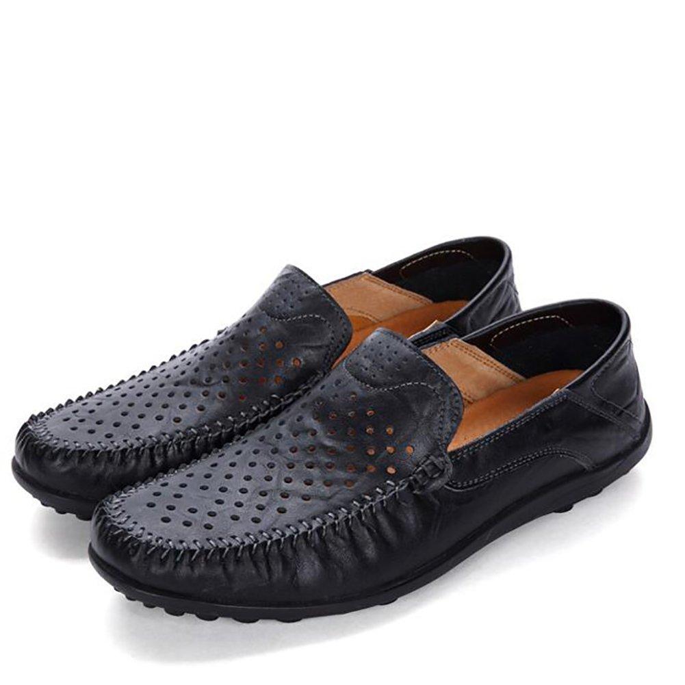 Zapatos de cuero del hombre del recorte del diseño Sandalias de cuero Verano caballero Zapatos de negocios de ocio Respire libremente (Color : Balck, Tamaño : 43) 43 Balck
