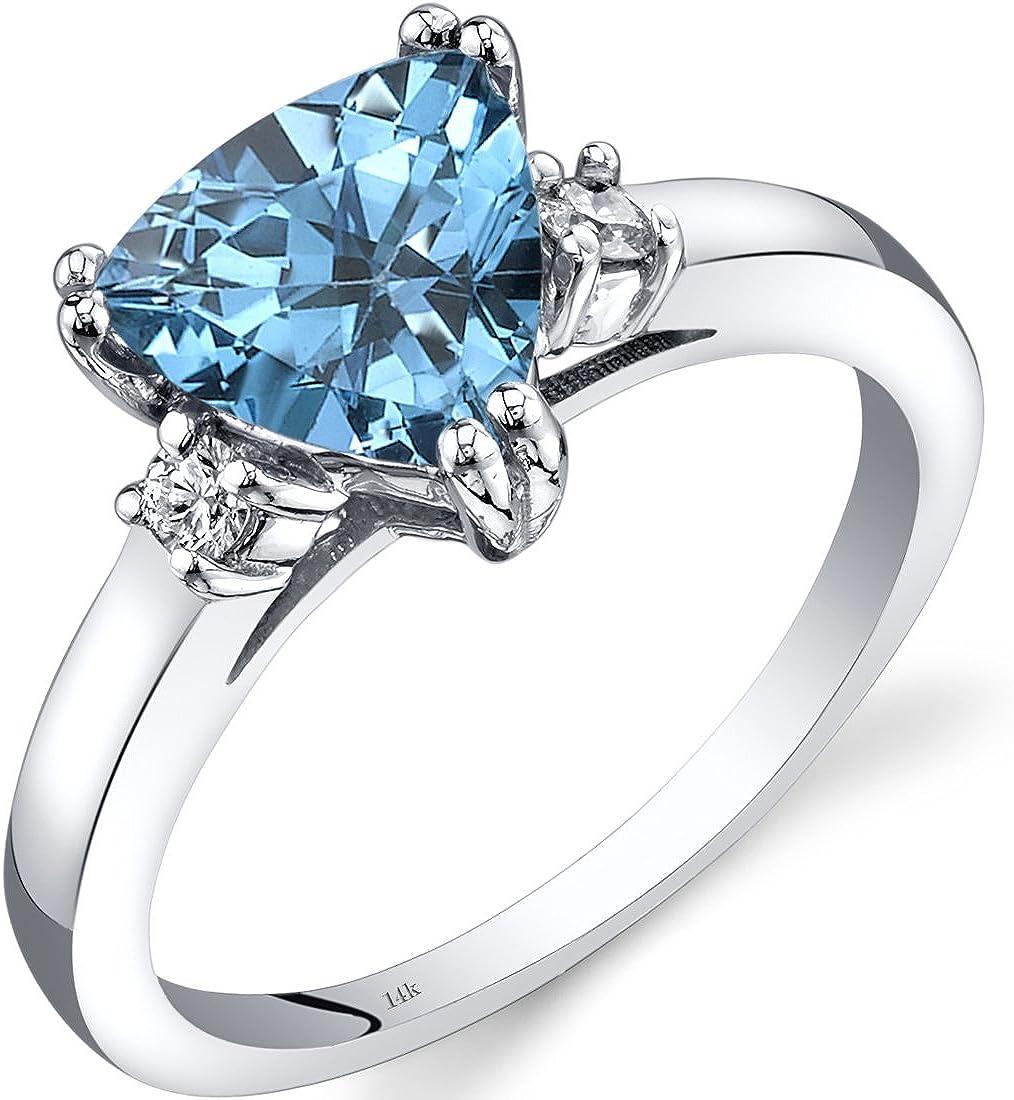 14K White Gold Swiss Blue Topaz Diamond Ring Trillion Cut 2.00 Carat