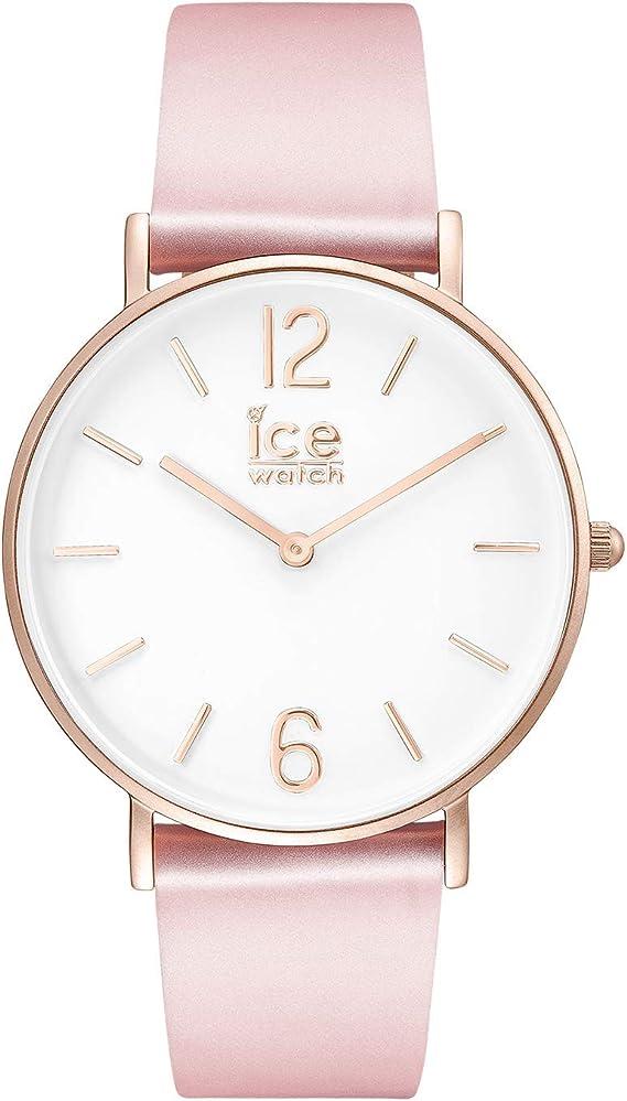 Ice,Watch , CITY tanner Pink Rose,Gold , Montre rose pour femme avec  bracelet en cuir , 001512 (Small)