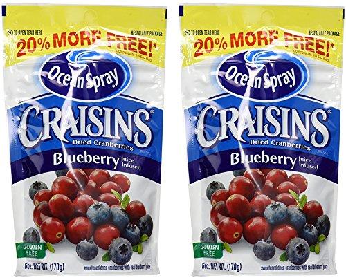 Ocean Spray Craisins - Dried Cranberries - Blueberry Juice Infused - Net Wt. 6 OZ (170 g) Per Package - Pack of 2 Packages (Ocean Spray Dried Cranberries)