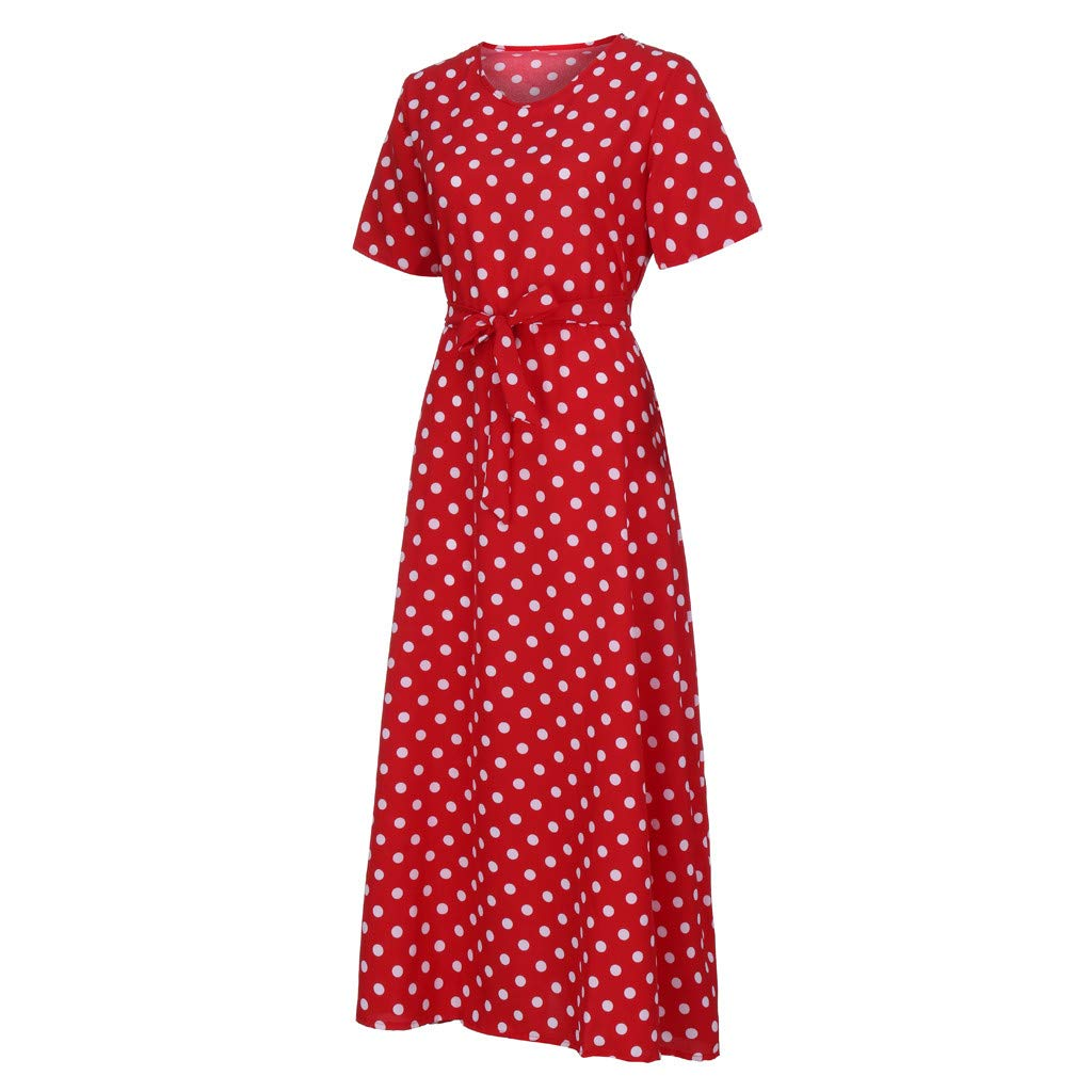 HULKY Womens Short Sleeve Loose Plain Beach Floral Print Polka Dot Bandage Flowy Party Maxi Dresses Casual Long Dresses with Belt
