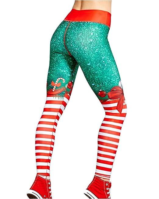 Tomwell Leggins para Damas Patrón de Navidad Pantalones Deportivos Largos para Training Running Yoga Fitness Transpirables con Cintura Alta