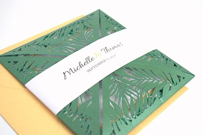 Amazon tropical leaves laser cut pocketfold wedding invitation tropical leaves laser cut pocketfold wedding invitation sample kit stopboris Image collections