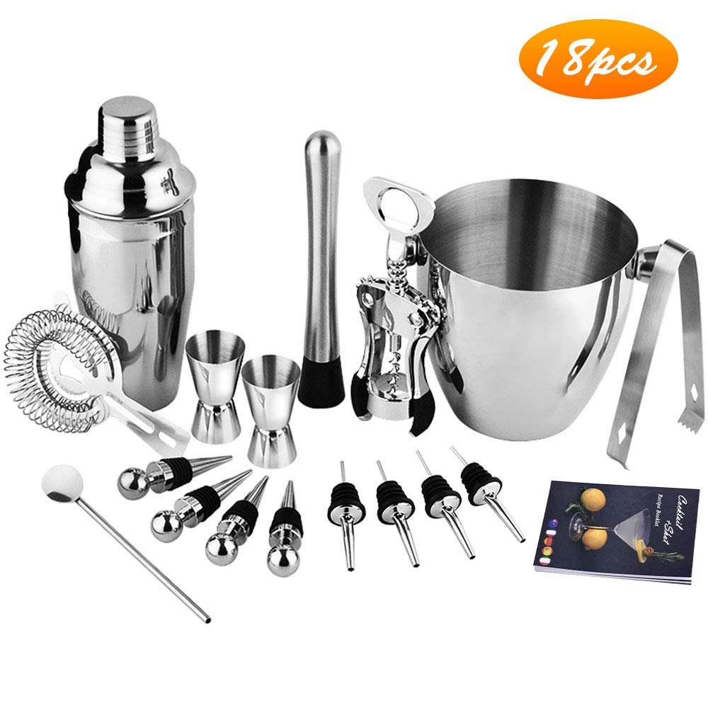 18 PCS Cocktail Shaker Set - Perfect Martini Alcohol Shaker Bar Set, Stainless Steel Tool Built-in Bartender Strainer