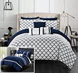 Chic Home CS1019-AN Dorothy 10 Piece Reversible Comforter Bed in a Bag Ruffled Pinch Pleat Geometric Pattern Print Design Complete Bedding Set, Navy, King