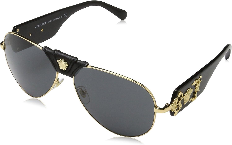 Versace Medusa Piel puente detalle aviador gafas de sol en oro negro ve2150q 10028762