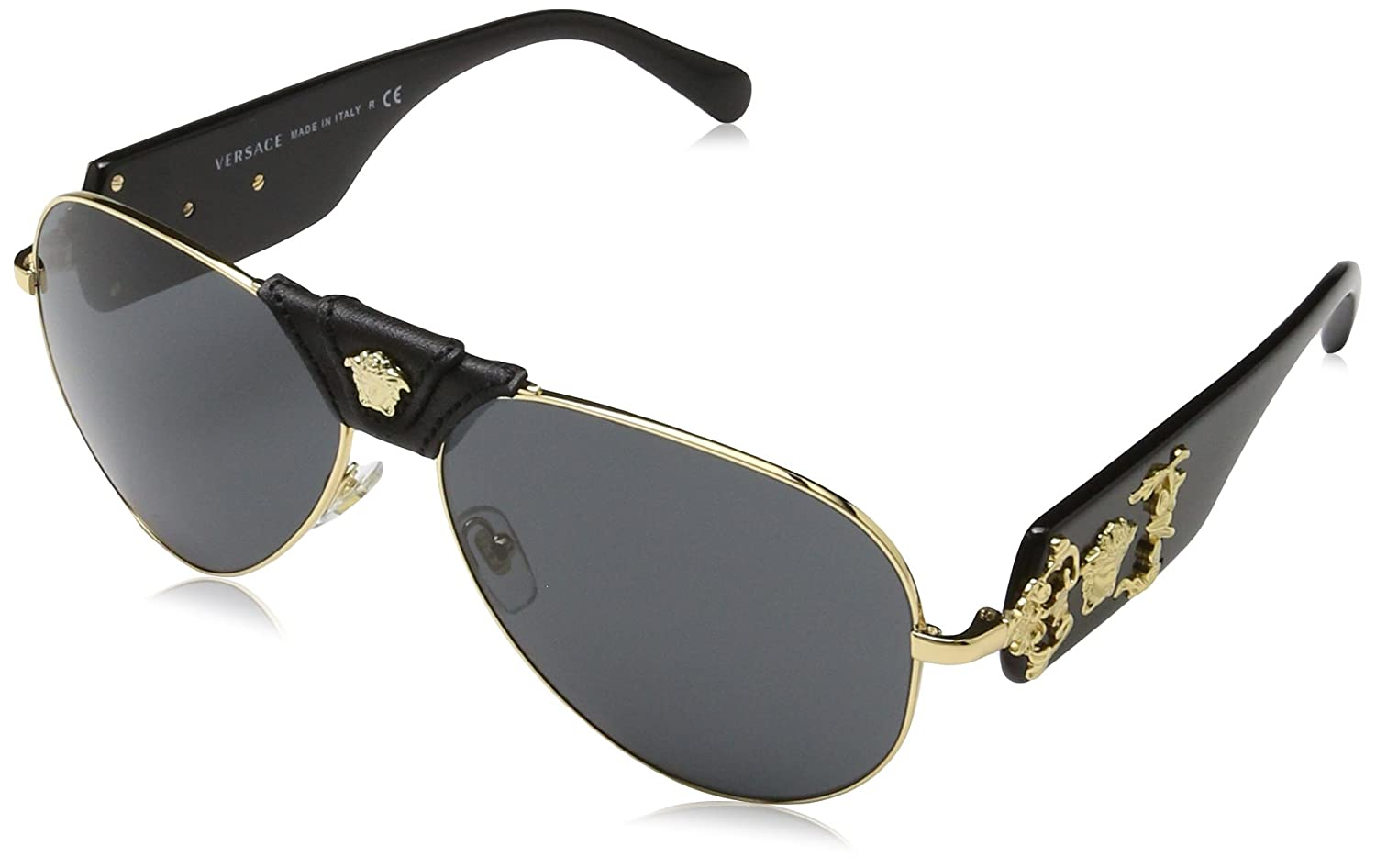 e5c211aa3d Amazon.com  Versace VE2150Q - 100287 Gold Black Aviator Sunglasses 62mm   Versace  Shoes