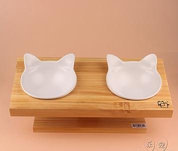 Comedero elevado para Perro Gato Mascota, cuenco doble de ceramica: Amazon.es: Productos para mascotas