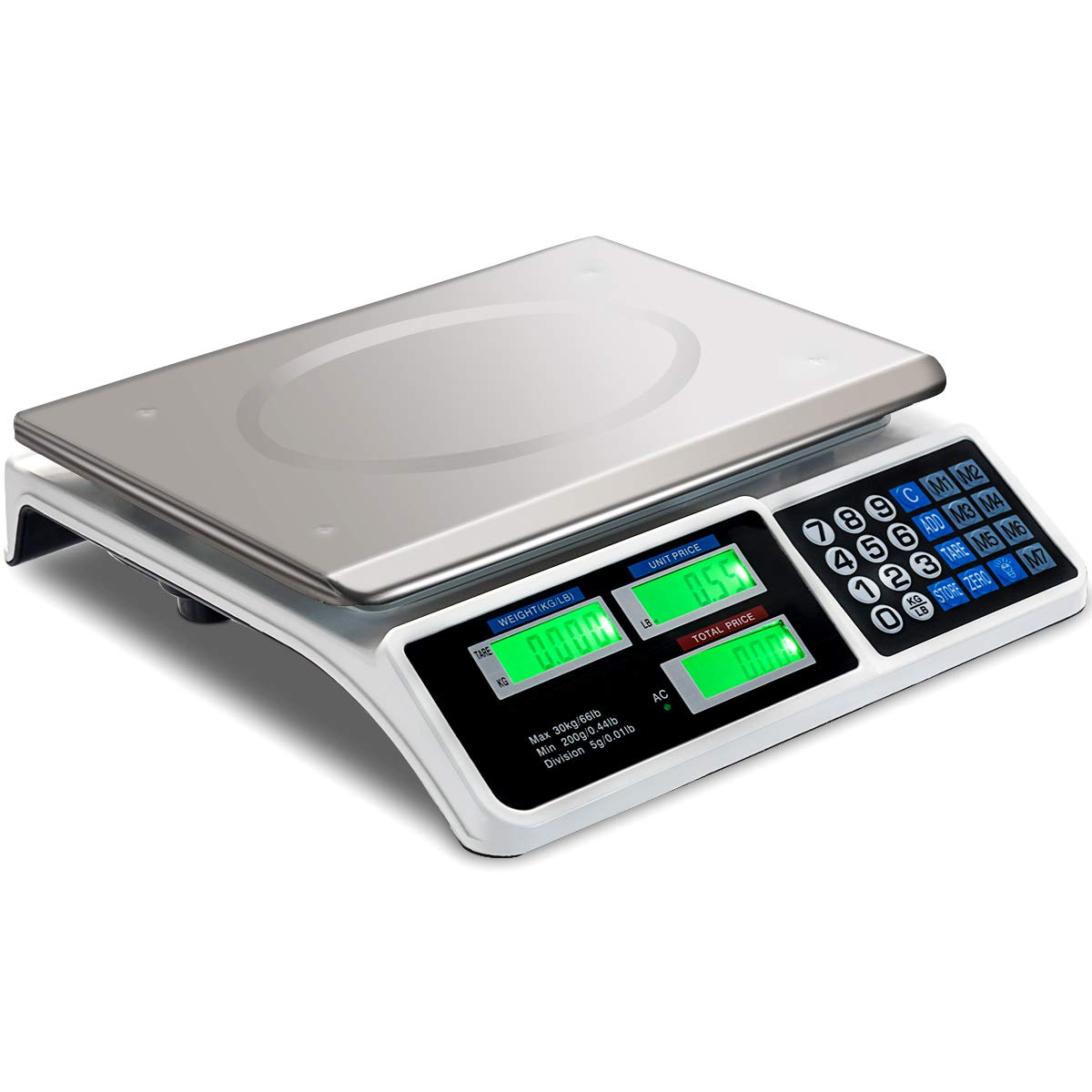 Goplus 66 LB Digital Scale Price Computing Deli Food Produce Electronic Counting Weight (Silver)