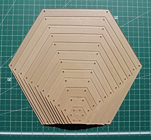 Hexagon Quilting Template Set, 1'', 2'', 3'', 4'', 5'', 6'', 7'', 8'', 9'', 10'', 11'', 12'' with 1/4'' Seam Allowance by LaserThing