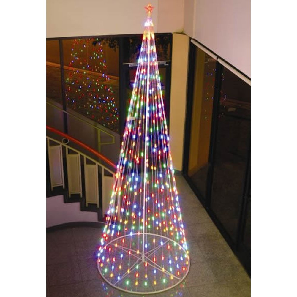 amazoncom homebrite 120 prelit artificial christmas led outdoor cone tree 61375 multi color home kitchen - 10 Foot Christmas Tree
