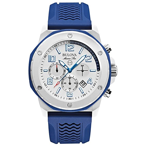 Bulova 98B200 - Reloj analógico de cuarzo para hombres, correa de caucho, color azul y blanco: Amazon.es: Relojes