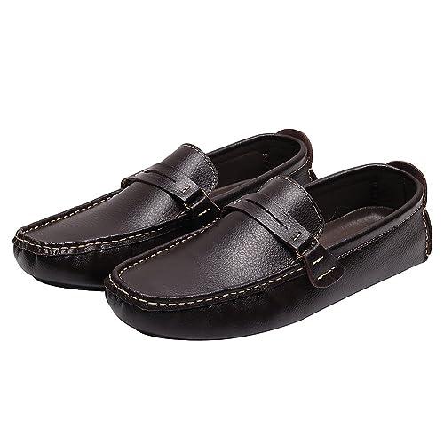rismart Herren überstreifen Mokassins Flache Leder Schuhe Loafers A006(schwarz,EU38)