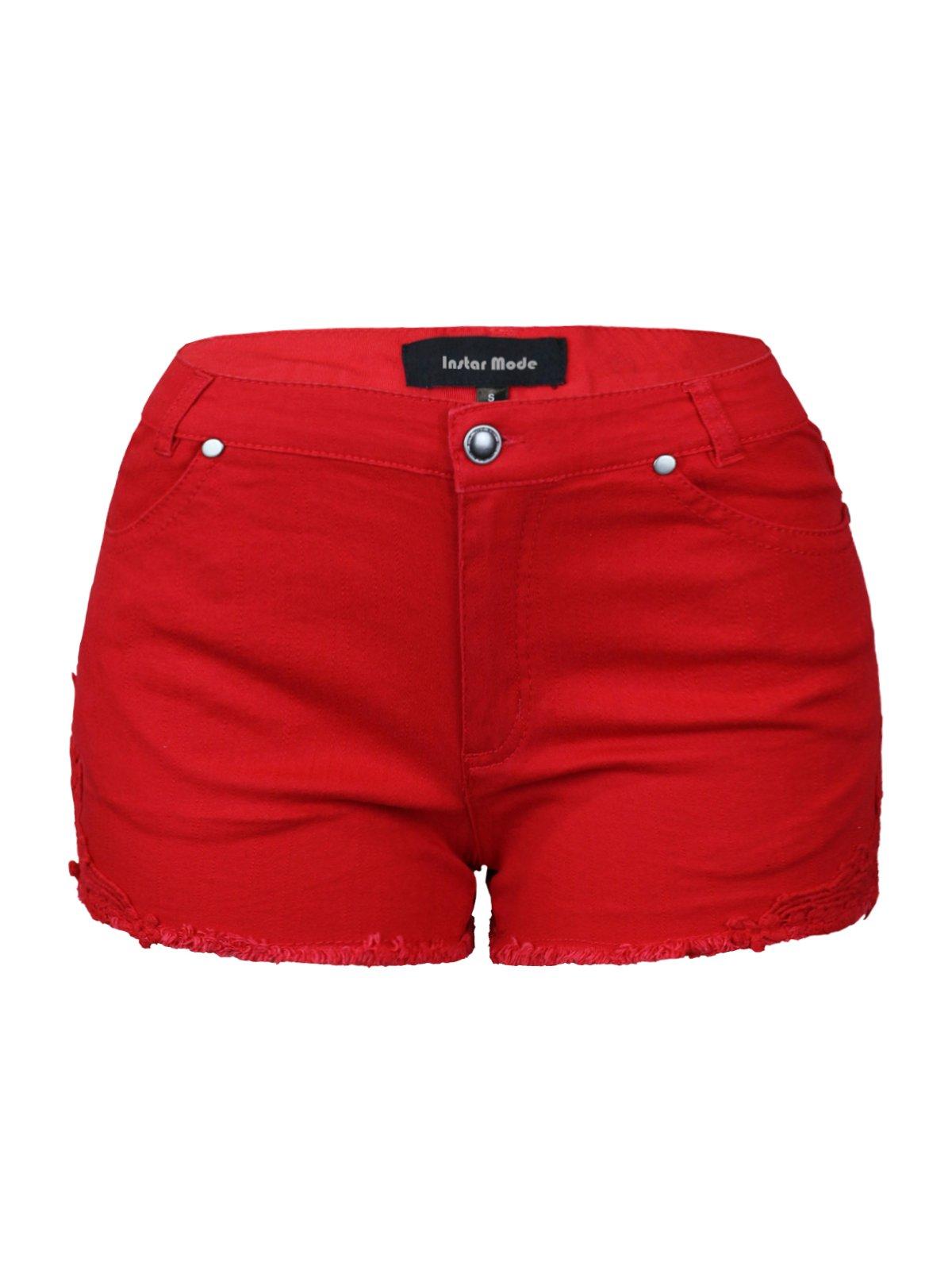 Instar Mode Womens Mid Waist Casual Denim Shorts (SJ22116 Red, Small)