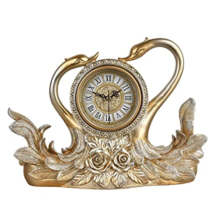 Family Fireplace Watches European Swan Clock Mute Bedroom Bedside Decoration Living Room Clock-Golden Suitable