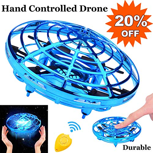 Flying Ball Mini Drone for Kids Toy,Hand Controlled Drone Quadcopter with LED Light 360°Rotating Auto-Avoid Obstacles RC Helicopter UFO Flying Toys for Kids Boys Girls July Deals Holiday Birthday Gift