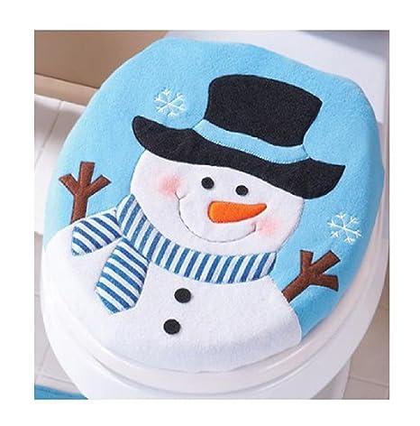 SMARTLADY Navidad Fundas para Asientos de Inodoro,Monigote de Nieve con una Cara Sonriente Linda
