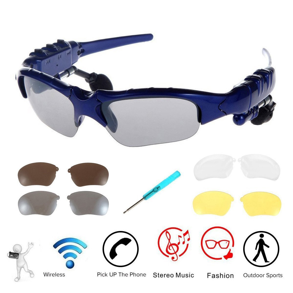 6b4a4d2898ee WONFAST Bluetooth Sunglasses Sun Glasses Music Handsfree Headset Headphones  for Smart Phone PC Tablet IPHONE6 /6 PLUS Samsung HTC Bluetooth devices +  Free ...
