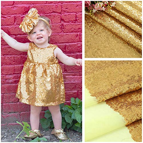 1 Yard Sequin Fabric Shimmer Mesh Glitz Fabric by The Yard for Dress Clothing Making Home Decor-Gold