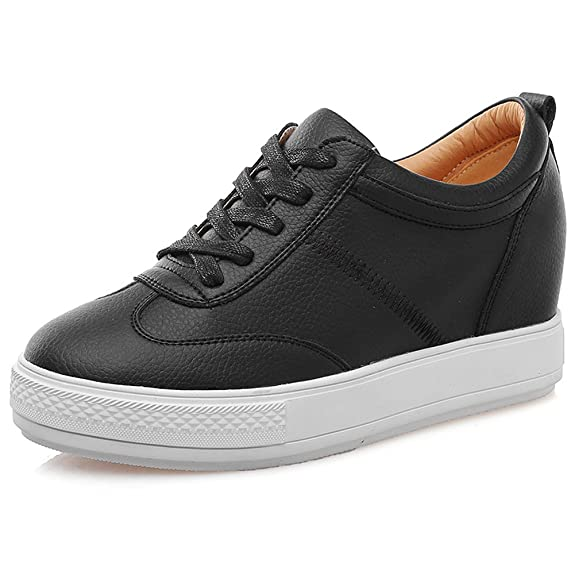 1ae2067ca38 Jamron Womens Soft Faux/Genuine Leather Hidden Wedge Heel Sneakers Comfy  Lace Up Casual Trainers