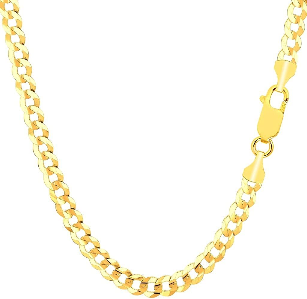 Pori Jewelers 10K Gold 5MM Hollow Curb/Cuban Chain Bracelet/Necklace-Made in Italy