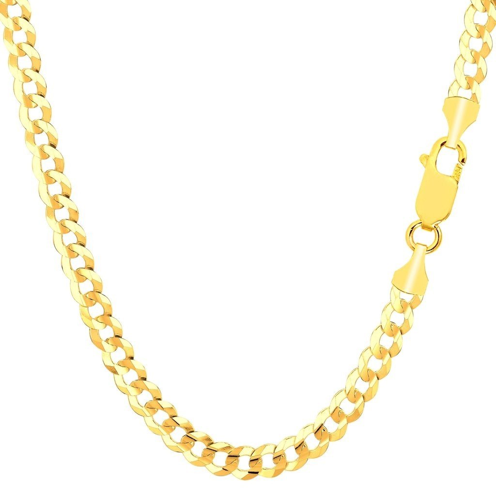 14K Solid Yellow Gold 5.5mm Thick Cuban Curb Link Chain Necklace- Lobster Claw Clasp- 22''